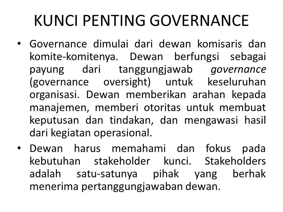 KUNCI PENTING GOVERNANCE Governance dimulai dari dewan komisaris dan komite-komitenya. Dewan berfungsi sebagai payung dari tanggungjawab governance (g