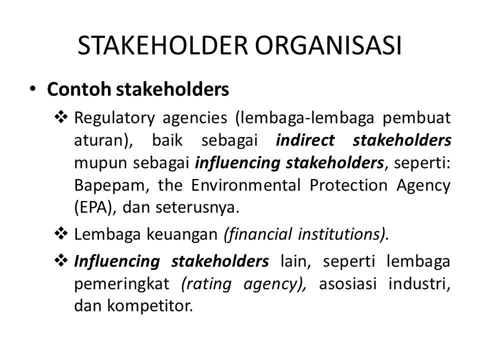 STAKEHOLDER ORGANISASI Contoh stakeholders  Regulatory agencies (lembaga-lembaga pembuat aturan), baik sebagai indirect stakeholders mupun sebagai in