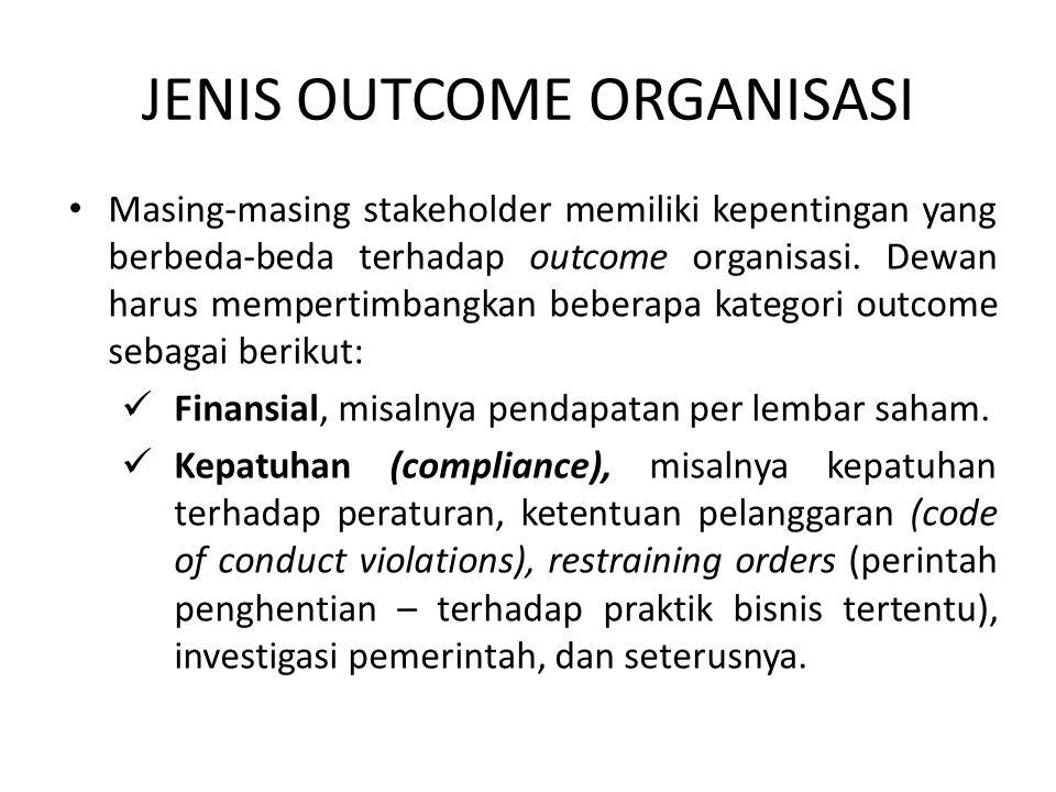 JENIS OUTCOME ORGANISASI Masing-masing stakeholder memiliki kepentingan yang berbeda-beda terhadap outcome organisasi. Dewan harus mempertimbangkan be