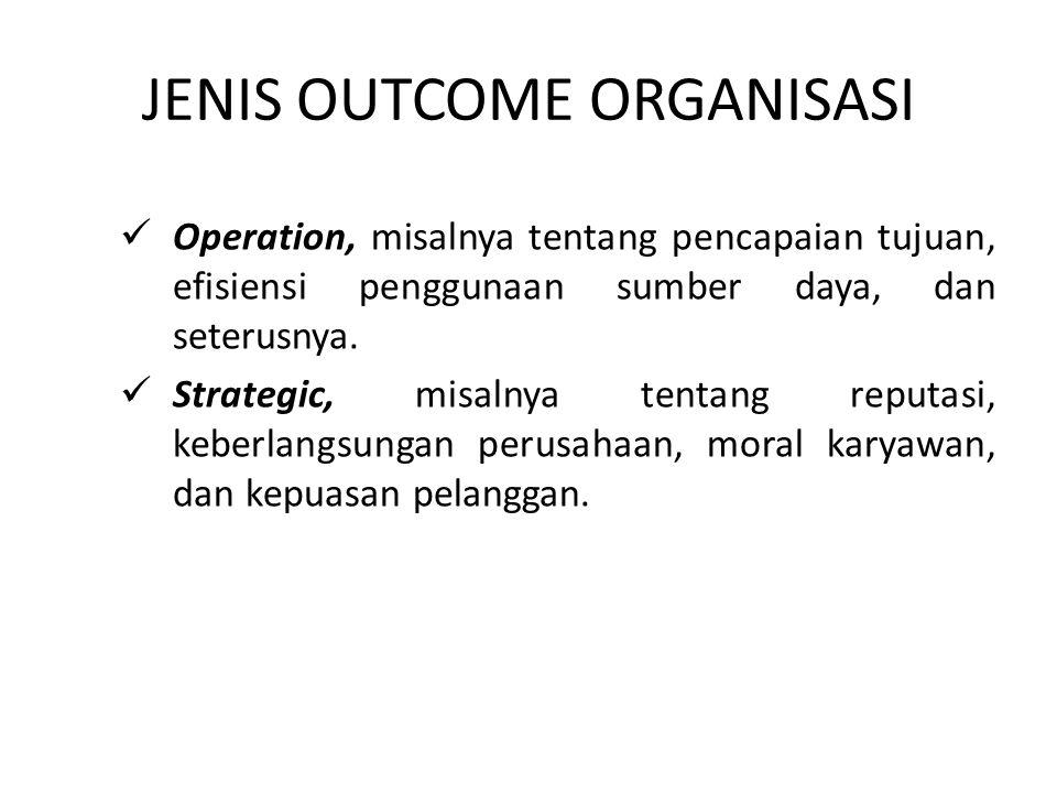 JENIS OUTCOME ORGANISASI Operation, misalnya tentang pencapaian tujuan, efisiensi penggunaan sumber daya, dan seterusnya. Strategic, misalnya tentang