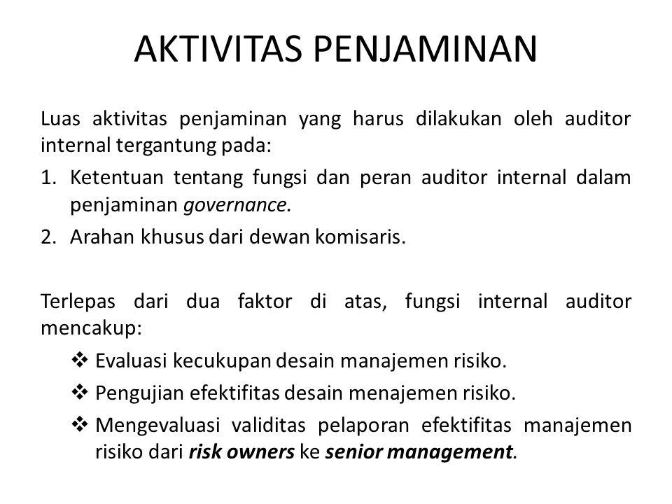 AKTIVITAS PENJAMINAN Luas aktivitas penjaminan yang harus dilakukan oleh auditor internal tergantung pada: 1.Ketentuan tentang fungsi dan peran audito