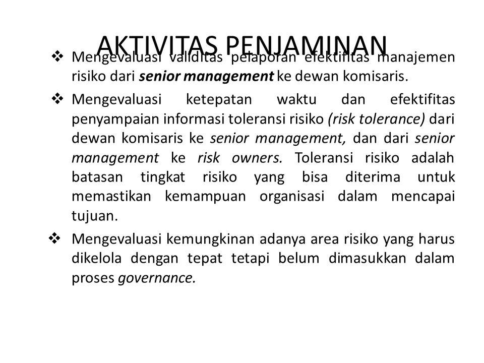 AKTIVITAS PENJAMINAN  Mengevaluasi validitas pelaporan efektifitas manajemen risiko dari senior management ke dewan komisaris.  Mengevaluasi ketepat
