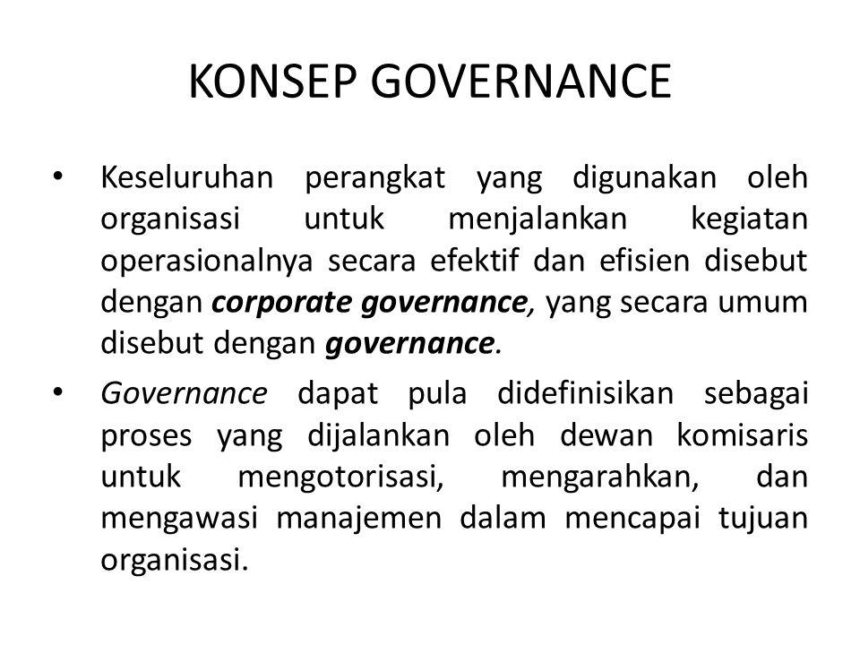 KONSEP GOVERNANCE Keseluruhan perangkat yang digunakan oleh organisasi untuk menjalankan kegiatan operasionalnya secara efektif dan efisien disebut de