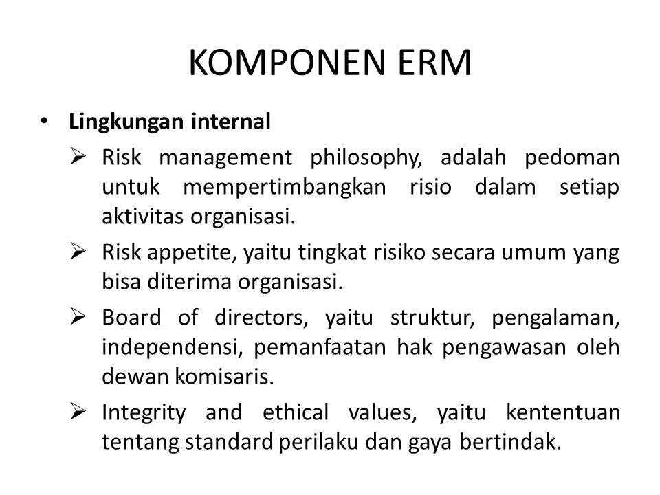 KOMPONEN ERM Lingkungan internal  Risk management philosophy, adalah pedoman untuk mempertimbangkan risio dalam setiap aktivitas organisasi.  Risk a