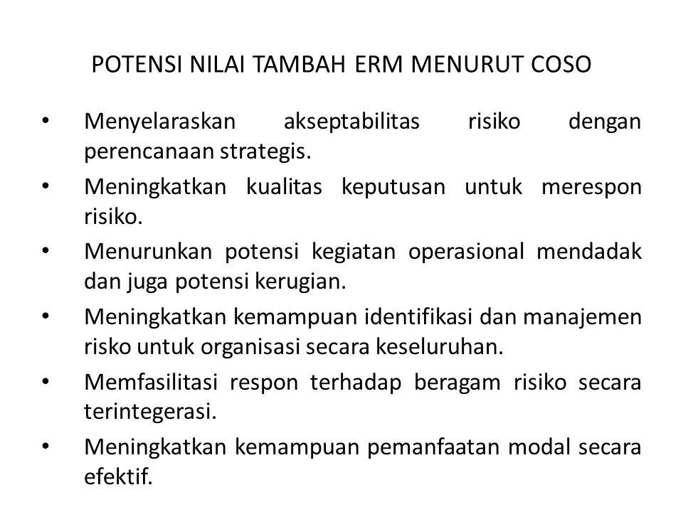 POTENSI NILAI TAMBAH ERM MENURUT COSO Menyelaraskan akseptabilitas risiko dengan perencanaan strategis. Meningkatkan kualitas keputusan untuk merespon