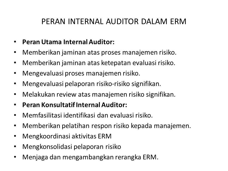 PERAN INTERNAL AUDITOR DALAM ERM Peran Utama Internal Auditor: Memberikan jaminan atas proses manajemen risiko. Memberikan jaminan atas ketepatan eval