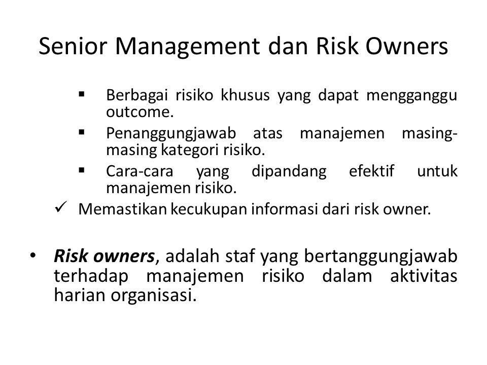 Senior Management dan Risk Owners  Berbagai risiko khusus yang dapat mengganggu outcome.  Penanggungjawab atas manajemen masing- masing kategori ris