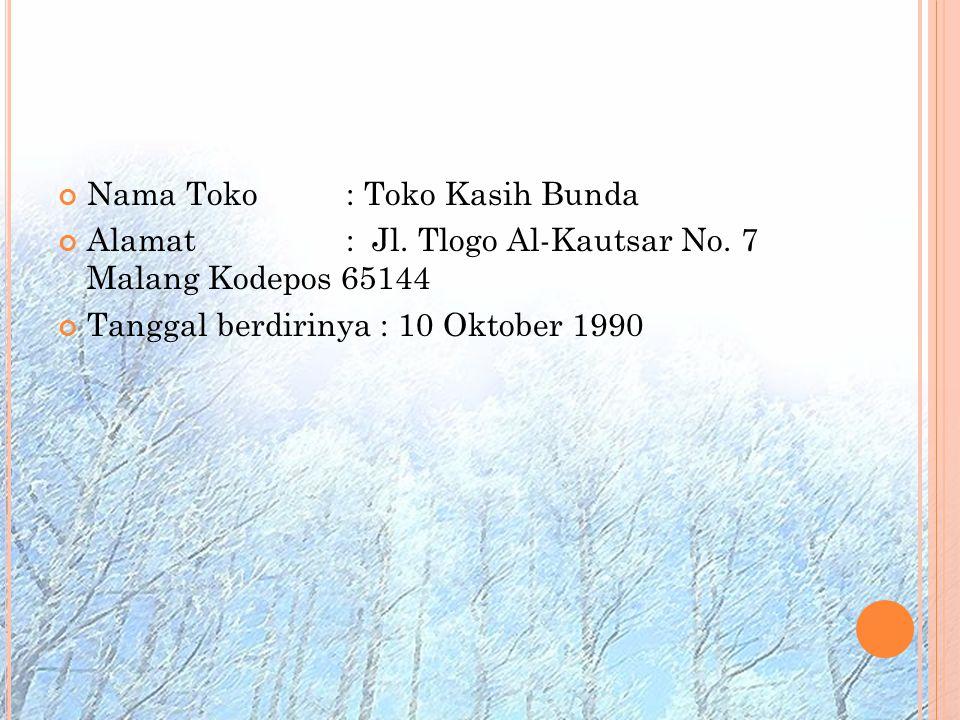 Nama Toko: Toko Kasih Bunda Alamat: Jl. Tlogo Al-Kautsar No. 7 Malang Kodepos 65144 Tanggal berdirinya : 10 Oktober 1990