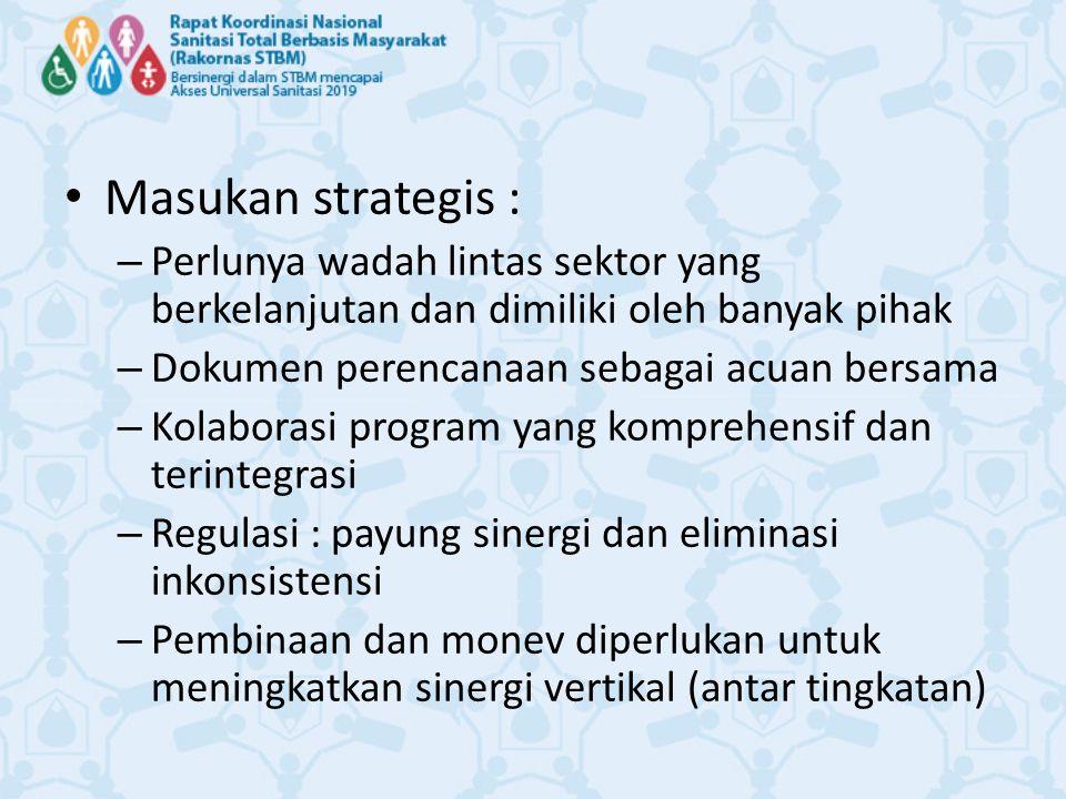 Masukan strategis : – Perlunya wadah lintas sektor yang berkelanjutan dan dimiliki oleh banyak pihak – Dokumen perencanaan sebagai acuan bersama – Kol