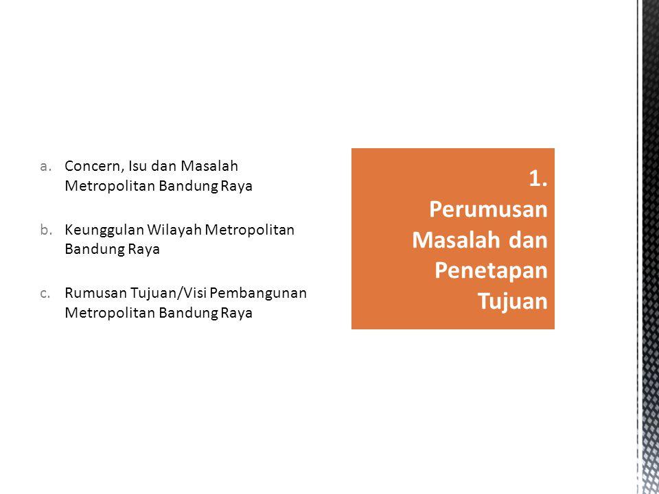 a.Concern, Isu dan Masalah Metropolitan Bandung Raya b.Keunggulan Wilayah Metropolitan Bandung Raya c.Rumusan Tujuan/Visi Pembangunan Metropolitan Ban