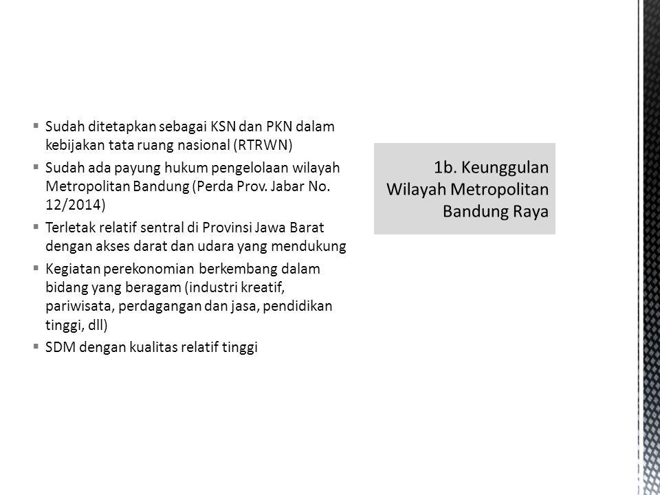  Sudah ditetapkan sebagai KSN dan PKN dalam kebijakan tata ruang nasional (RTRWN)  Sudah ada payung hukum pengelolaan wilayah Metropolitan Bandung (