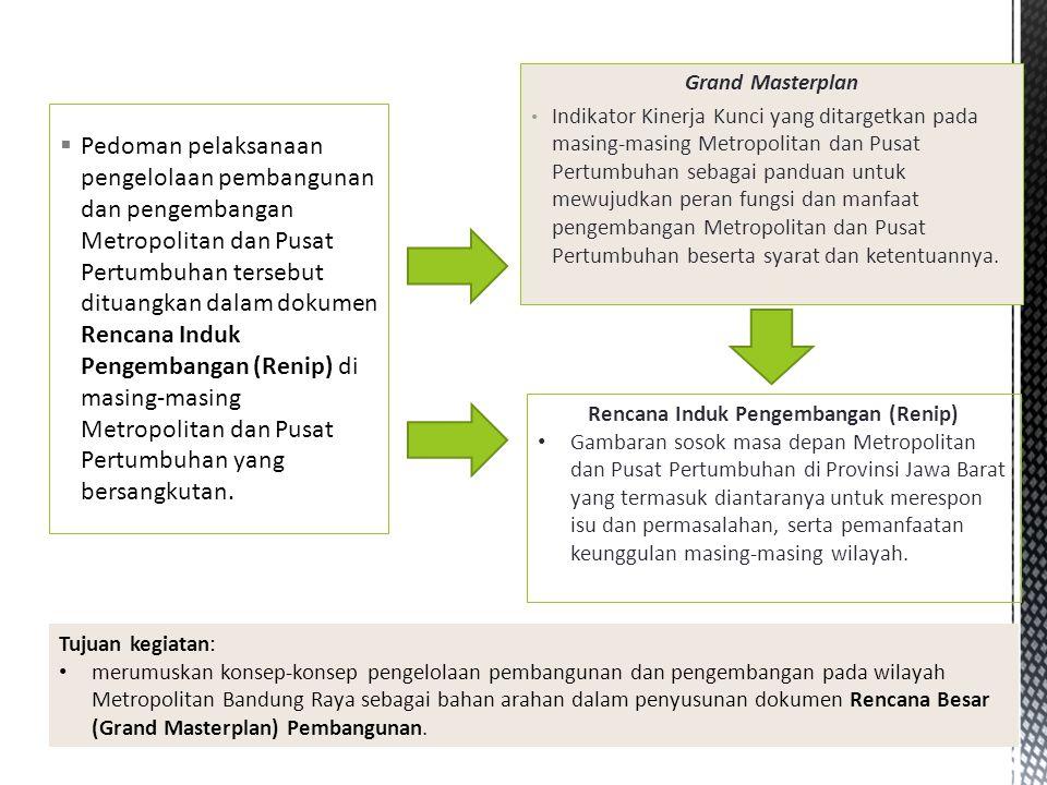 Konsep dan Rancangan Rencana Besar Pembangunan Metropolitan Bandung Raya, dengan muatan: 1.Isu dan masalah utama wilayah; 2.Keunggulan wilayah; 3.Sosok masa depan / Visi wilayah pada akhir tahun 2050i ; 4.Konsep pendekatan pemecahan masalah (approach to problem) wilayah; 5.Pendefinisian dan konsep arahan pengelolaan pembangunan dan pengembangan di bidang-bidang yang bersifat strategis berskala metropolitan, lintas daerah serta lintas pemerintahan dan/atau berimplikasi skala metropolitan (meliputi bidang pemerintahan, bidang ekonomi, bidang fisik dan lingkungan hidup, dan bidang sosial budaya); 6.Konsep keterkaitan/konektivitas antar wilayahii; 7.Konsep Indikator Kinerja Kunci sebagai standar keberhasilan pengelolaan pembangunan dan pengembangan wilayah; 8.Term of Reference (TOR) penyusunan Dokumen Rencana Besar; 9.Aspek-aspek substansi lainnya yang dinilai perlu.