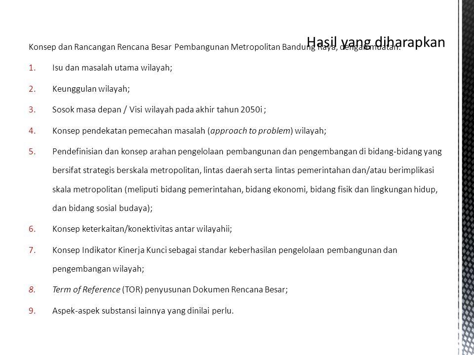 Konsep dan Rancangan Rencana Besar Pembangunan Metropolitan Bandung Raya, dengan muatan: 1.Isu dan masalah utama wilayah; 2.Keunggulan wilayah; 3.Soso