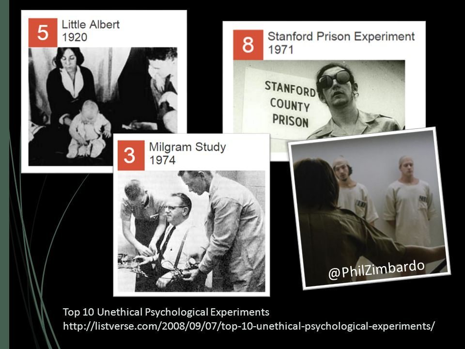 Top 10 Unethical Psychological Experiments http://listverse.com/2008/09/07/top-10-unethical-psychological-experiments/ @PhilZimbardo