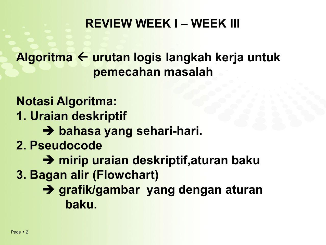 Page  2 REVIEW WEEK I – WEEK III Algoritma  urutan logis langkah kerja untuk pemecahan masalah Notasi Algoritma: 1.Uraian deskriptif  bahasa yang s