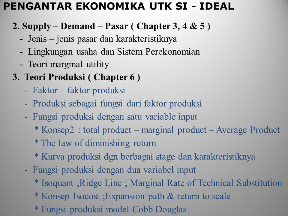 PENGANTAR EKONOMIKA UTK SI - IDEAL 2. Supply – Demand – Pasar ( Chapter 3, 4 & 5 ) - Jenis – jenis pasar dan karakteristiknya - Lingkungan usaha dan S