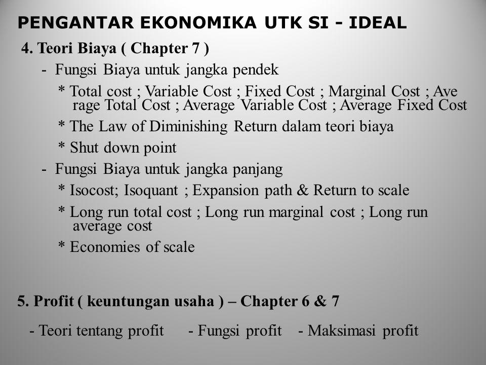 PENGANTAR EKONOMIKA UTK SI - IDEAL 4. Teori Biaya ( Chapter 7 ) - Fungsi Biaya untuk jangka pendek * Total cost ; Variable Cost ; Fixed Cost ; Margina