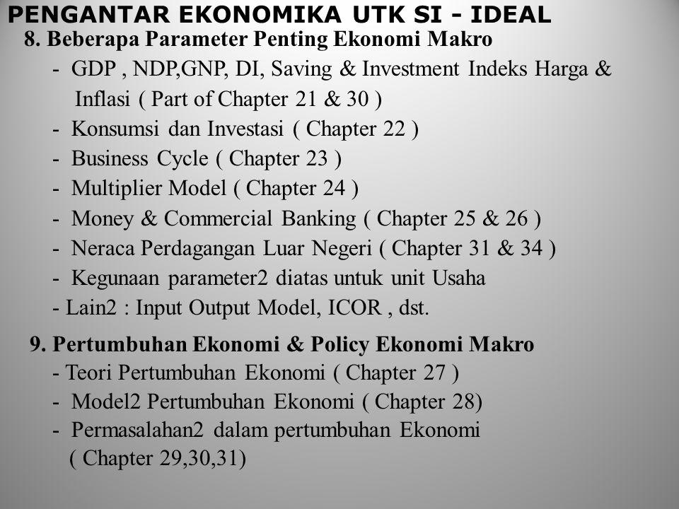 PENGANTAR EKONOMIKA UTK SI - IDEAL 8. Beberapa Parameter Penting Ekonomi Makro - GDP, NDP,GNP, DI, Saving & Investment Indeks Harga & Inflasi ( Part o