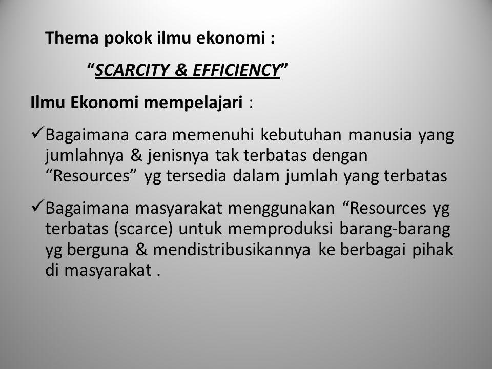"""Thema pokok ilmu ekonomi : """"SCARCITY & EFFICIENCY"""" Ilmu Ekonomi mempelajari : Bagaimana cara memenuhi kebutuhan manusia yang jumlahnya & jenisnya tak"""