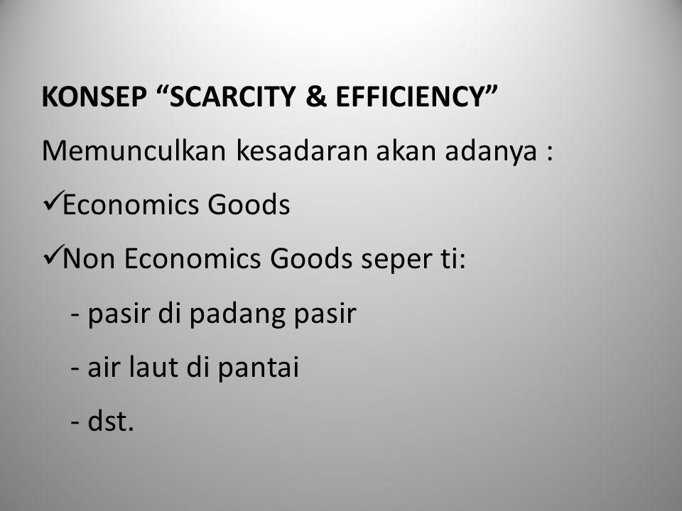 """KONSEP """"SCARCITY & EFFICIENCY"""" Memunculkan kesadaran akan adanya : Economics Goods Non Economics Goods seper ti: - pasir di padang pasir - air laut di"""
