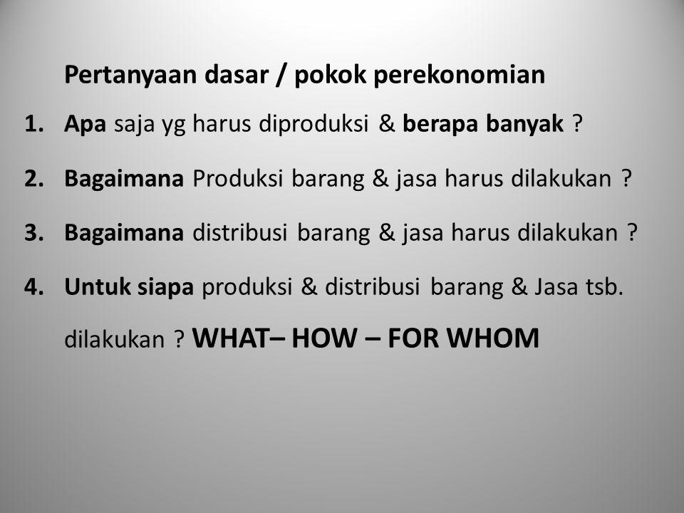 Pertanyaan dasar / pokok perekonomian 1.Apa saja yg harus diproduksi & berapa banyak ? 2.Bagaimana Produksi barang & jasa harus dilakukan ? 3.Bagaiman