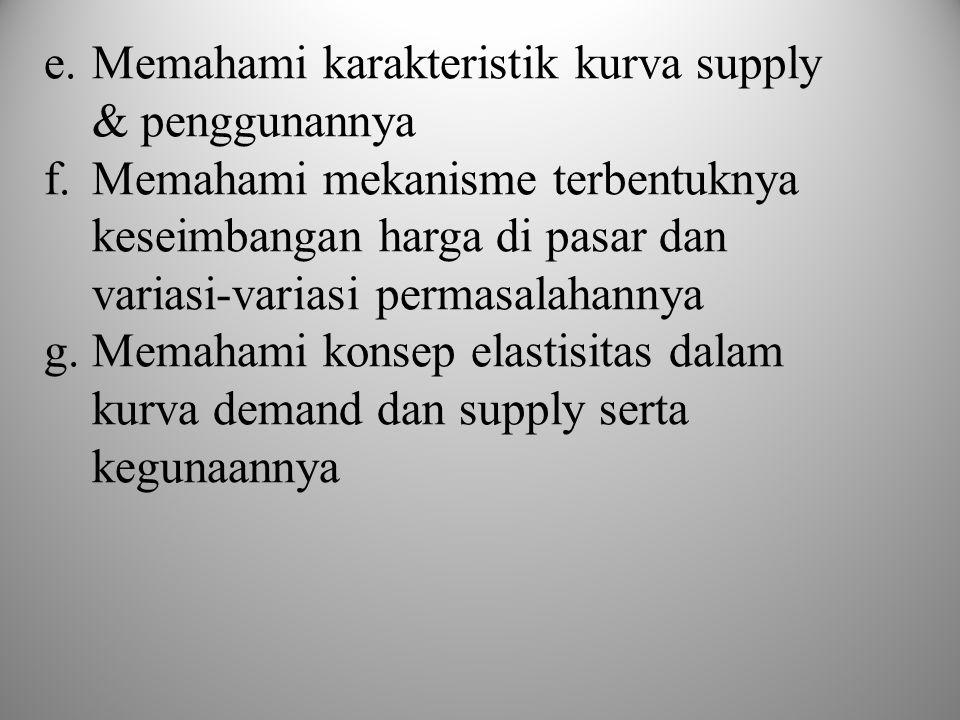 e.Memahami karakteristik kurva supply & penggunannya f.Memahami mekanisme terbentuknya keseimbangan harga di pasar dan variasi-variasi permasalahannya g.Memahami konsep elastisitas dalam kurva demand dan supply serta kegunaannya