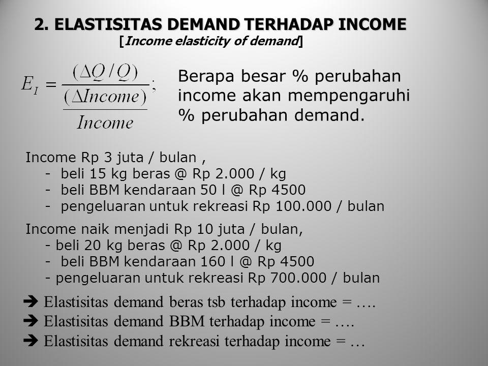 2. ELASTISITAS DEMAND TERHADAP INCOME [Income elasticity of demand] Berapa besar % perubahan income akan mempengaruhi % perubahan demand. Income Rp 3