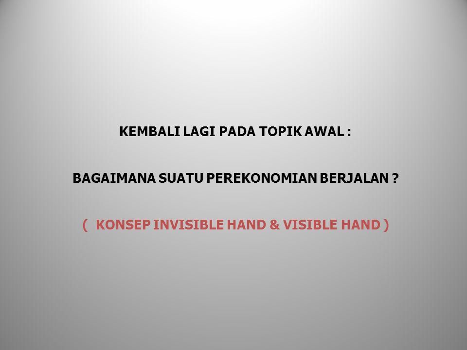 KEMBALI LAGI PADA TOPIK AWAL : BAGAIMANA SUATU PEREKONOMIAN BERJALAN ? ( KONSEP INVISIBLE HAND & VISIBLE HAND )