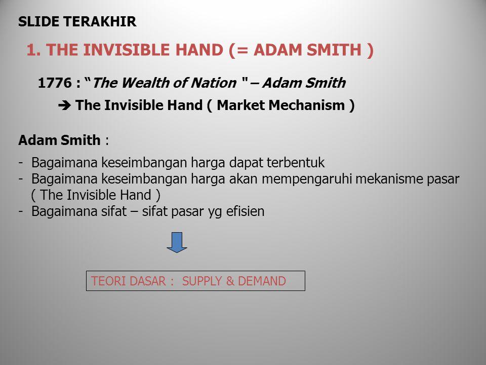 1776 : The Wealth of Nation – Adam Smith  The Invisible Hand ( Market Mechanism ) Adam Smith : - Bagaimana keseimbangan harga dapat terbentuk - Bagaimana keseimbangan harga akan mempengaruhi mekanisme pasar ( The Invisible Hand ) - Bagaimana sifat – sifat pasar yg efisien 1.