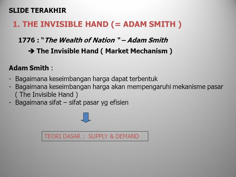 "1776 : ""The Wealth of Nation "" – Adam Smith  The Invisible Hand ( Market Mechanism ) Adam Smith : - Bagaimana keseimbangan harga dapat terbentuk - Ba"