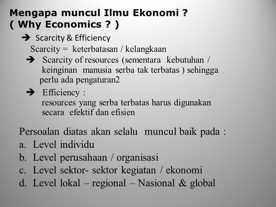 Mengapa muncul Ilmu Ekonomi ? ( Why Economics ? )  Scarcity & Efficiency Scarcity = keterbatasan / kelangkaan  Scarcity of resources (sementara kebu