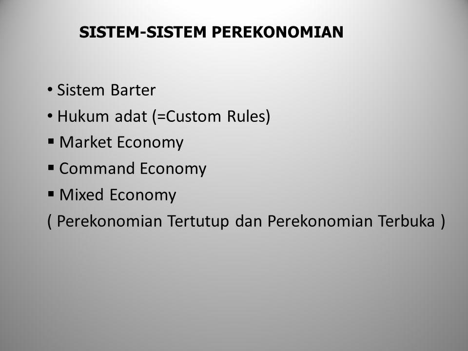 Sistem Barter Hukum adat (=Custom Rules)  Market Economy  Command Economy  Mixed Economy ( Perekonomian Tertutup dan Perekonomian Terbuka ) SISTEM-SISTEM PEREKONOMIAN