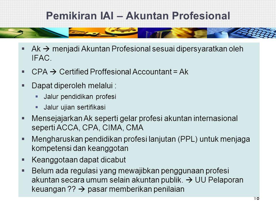 18  Ak  menjadi Akuntan Profesional sesuai dipersyaratkan oleh IFAC.  CPA  Certified Proffesional Accountant = Ak  Dapat diperoleh melalui :  Ja