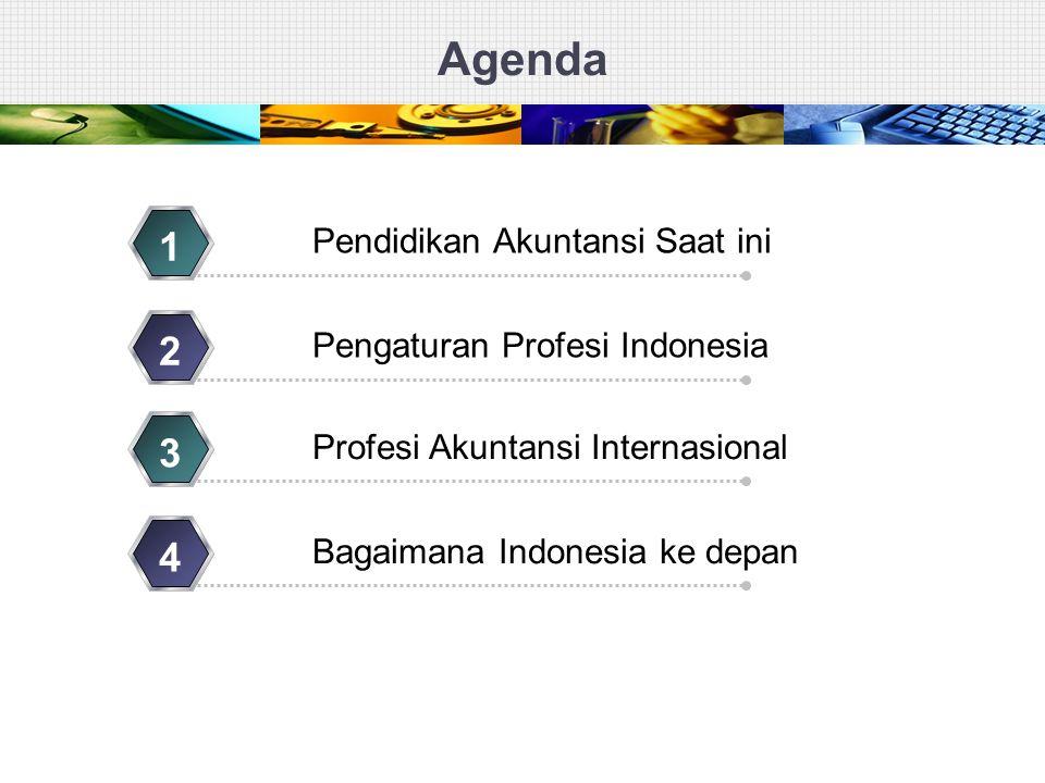Agenda Pendidikan Akuntansi Saat ini 1 Pengaturan Profesi Indonesia 2 Profesi Akuntansi Internasional 3 Bagaimana Indonesia ke depan 4