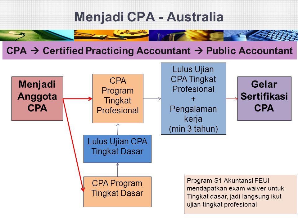 Menjadi CPA - Australia 25 Menjadi Anggota CPA CPA Program Tingkat Dasar Lulus Ujian CPA Tingkat Dasar CPA Program Tingkat Profesional Lulus Ujian CPA