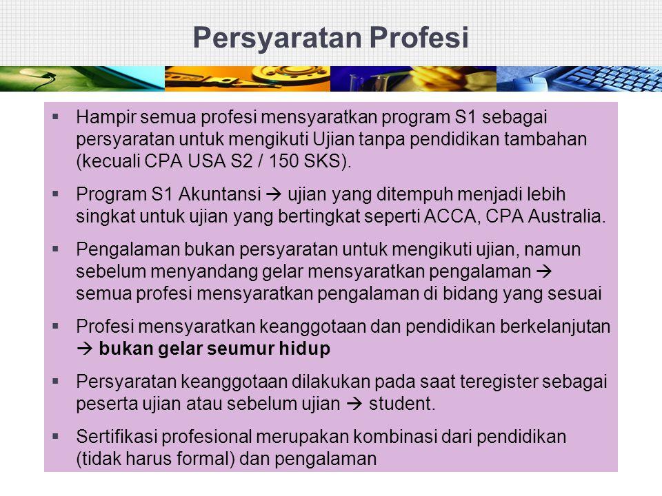 Persyaratan Profesi  Hampir semua profesi mensyaratkan program S1 sebagai persyaratan untuk mengikuti Ujian tanpa pendidikan tambahan (kecuali CPA US