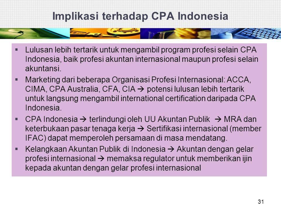 Implikasi terhadap CPA Indonesia  Lulusan lebih tertarik untuk mengambil program profesi selain CPA Indonesia, baik profesi akuntan internasional mau