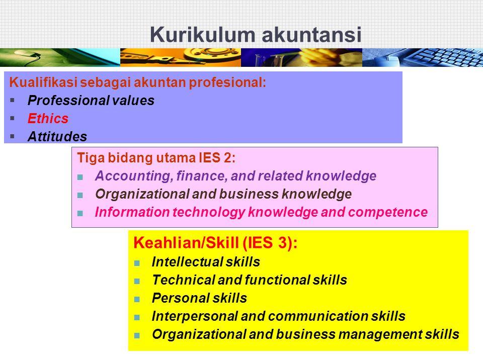 Kurikulum akuntansi Kualifikasi sebagai akuntan profesional:  Professional values  Ethics  Attitudes Tiga bidang utama IES 2: Accounting, finance,