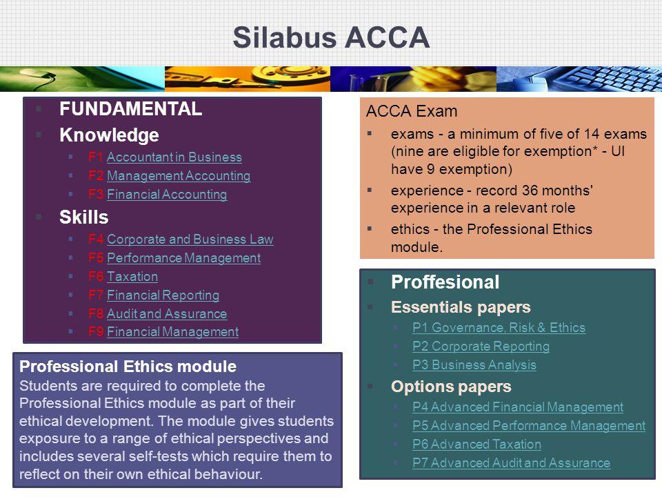 Silabus ACCA  FUNDAMENTAL  Knowledge  F1 Accountant in BusinessAccountant in Business  F2 Management AccountingManagement Accounting  F3 Financia