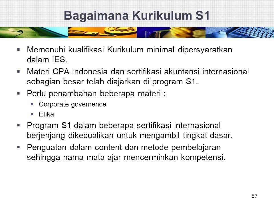 Bagaimana Kurikulum S1 57  Memenuhi kualifikasi Kurikulum minimal dipersyaratkan dalam IES.  Materi CPA Indonesia dan sertifikasi akuntansi internas