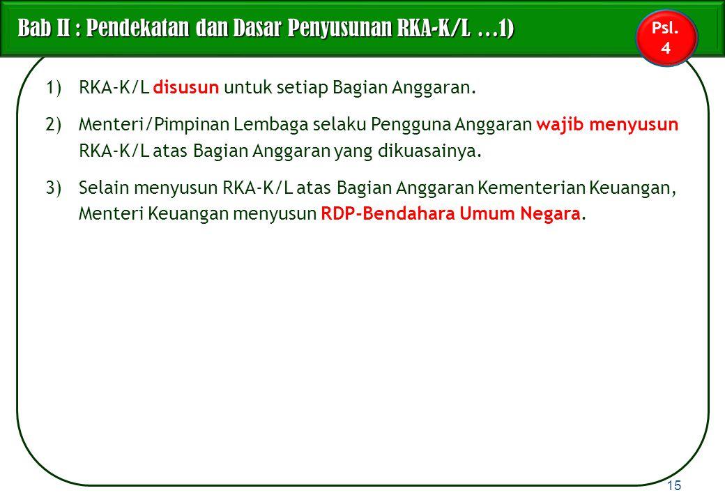 1)RKA-K/L disusun untuk setiap Bagian Anggaran. 2)Menteri/Pimpinan Lembaga selaku Pengguna Anggaran wajib menyusun RKA-K/L atas Bagian Anggaran yang d