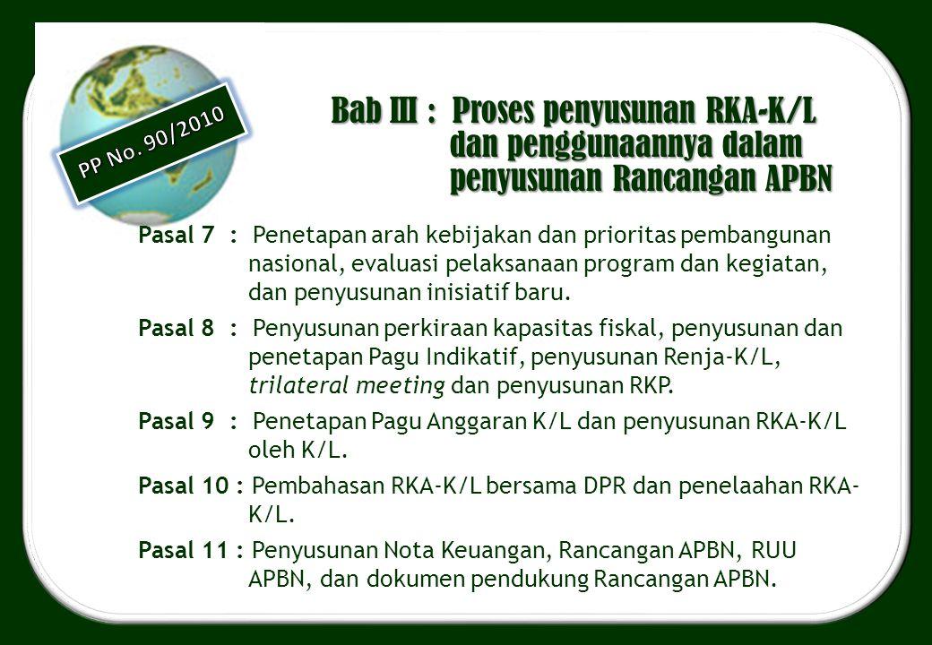 Bab III : Proses penyusunan RKA-K/L dan penggunaannya dalam penyusunan Rancangan APBN Pasal 7 : Penetapan arah kebijakan dan prioritas pembangunan nas