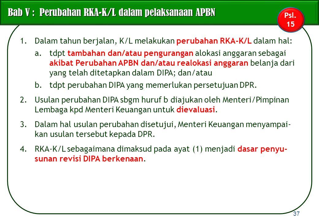 1.Dalam tahun berjalan, K/L melakukan perubahan RKA-K/L dalam hal: a.tdpt tambahan dan/atau pengurangan alokasi anggaran sebagai akibat Perubahan APBN