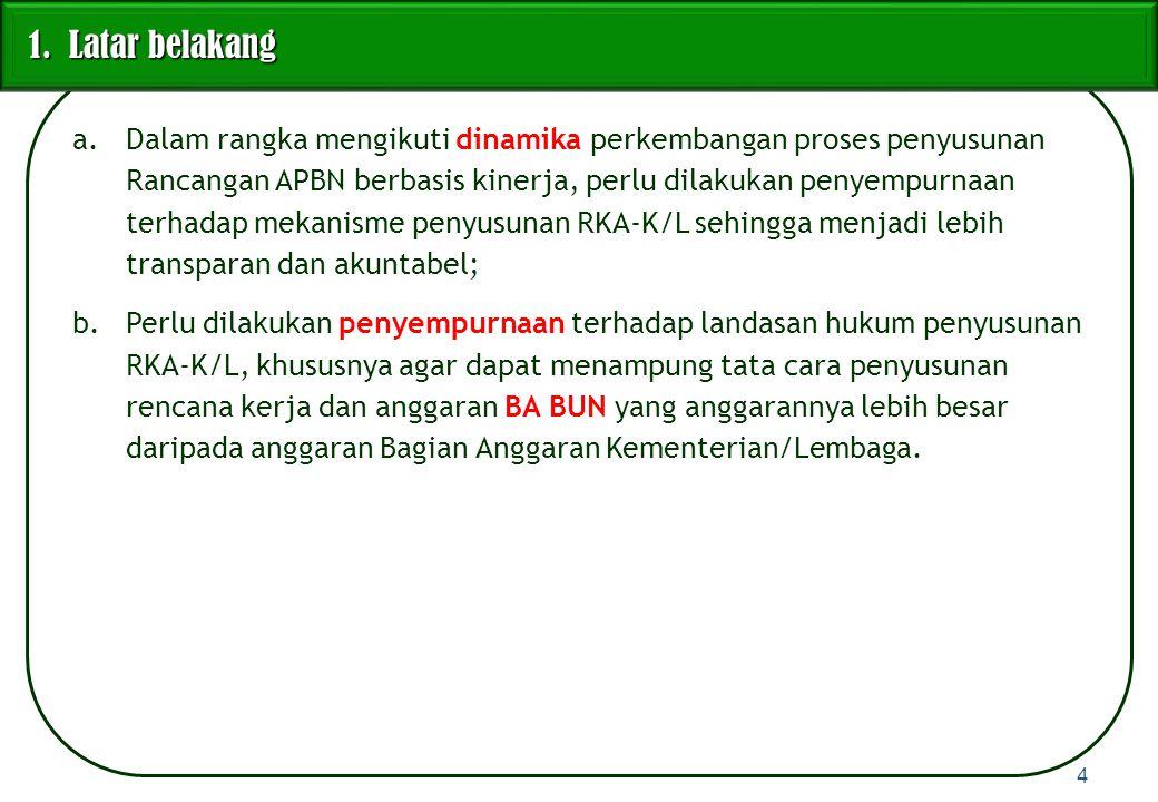 1)RKA-K/L disusun untuk setiap Bagian Anggaran.