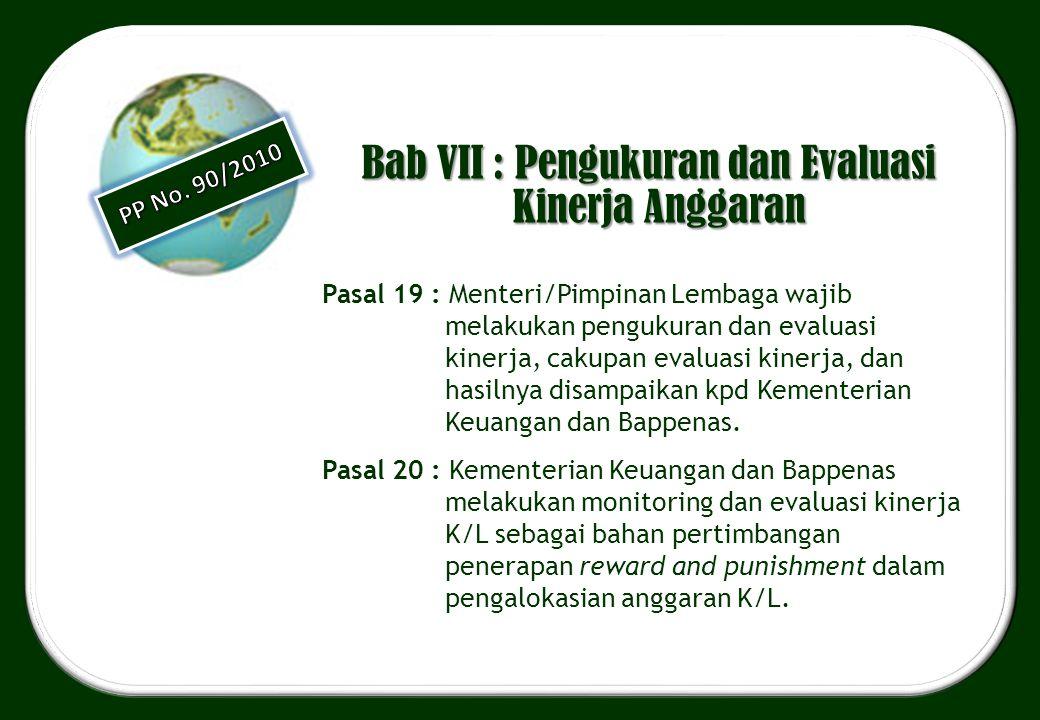 Bab VII : Pengukuran dan Evaluasi Kinerja Anggaran Pasal 19 : Menteri/Pimpinan Lembaga wajib melakukan pengukuran dan evaluasi kinerja, cakupan evalua