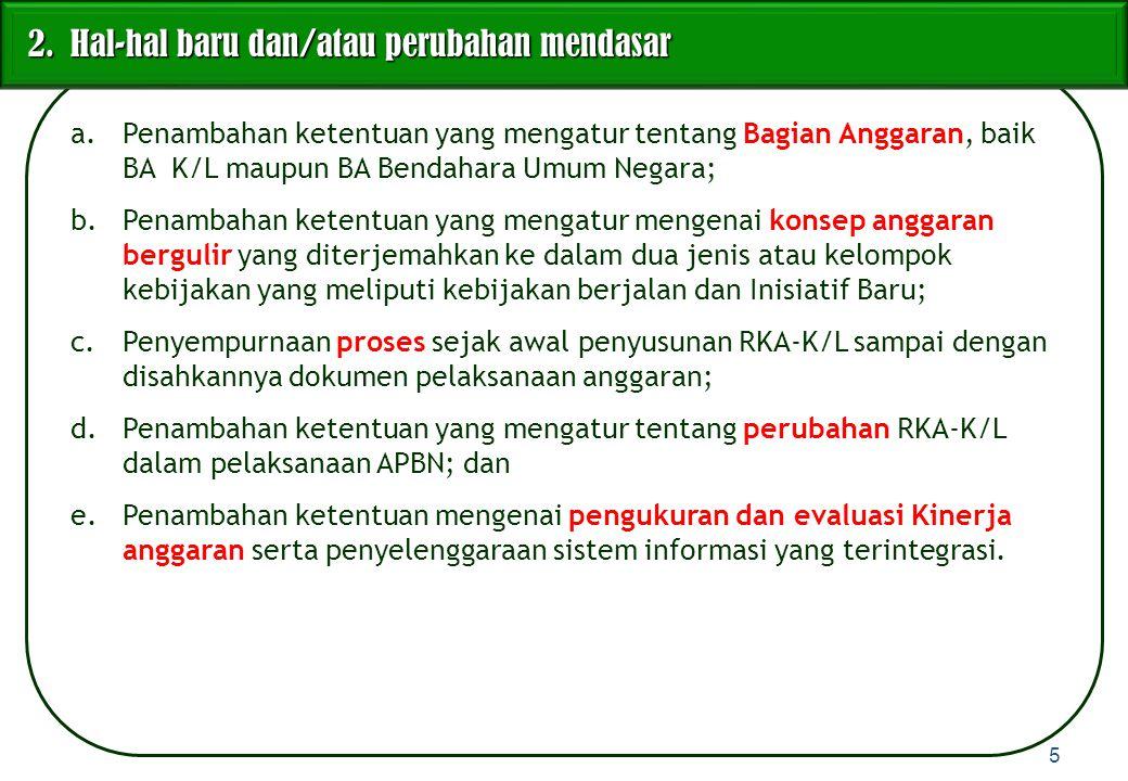 Bab V : Perubahan RKA-K/L dalam Pelaksanaan APBN Pasal 15 : Payung hukum pelaksanaan revisi RKA-K/L dalam tahun anggaran berjalan, penyebab adanya revisi, dan pengaturan revisi oleh Menteri Keuangan.