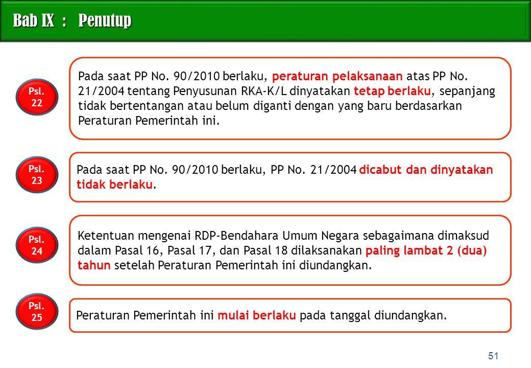 Pada saat PP No. 90/2010 berlaku, peraturan pelaksanaan atas PP No. 21/2004 tentang Penyusunan RKA-K/L dinyatakan tetap berlaku, sepanjang tidak berte