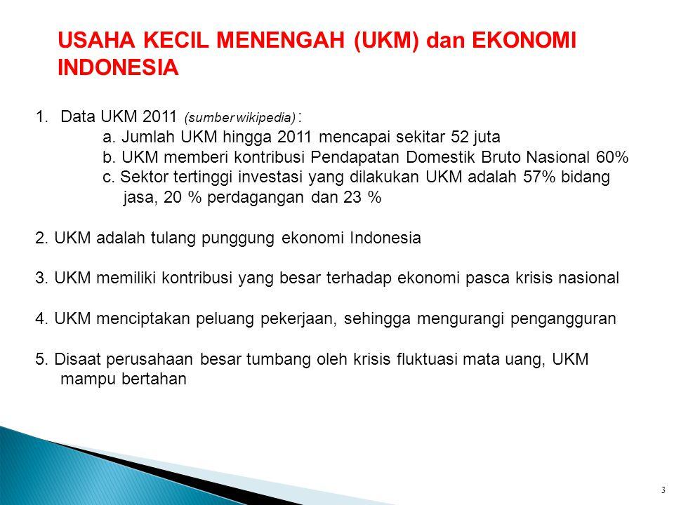 1.Data UKM 2011 (sumber wikipedia) : a. Jumlah UKM hingga 2011 mencapai sekitar 52 juta b. UKM memberi kontribusi Pendapatan Domestik Bruto Nasional 6
