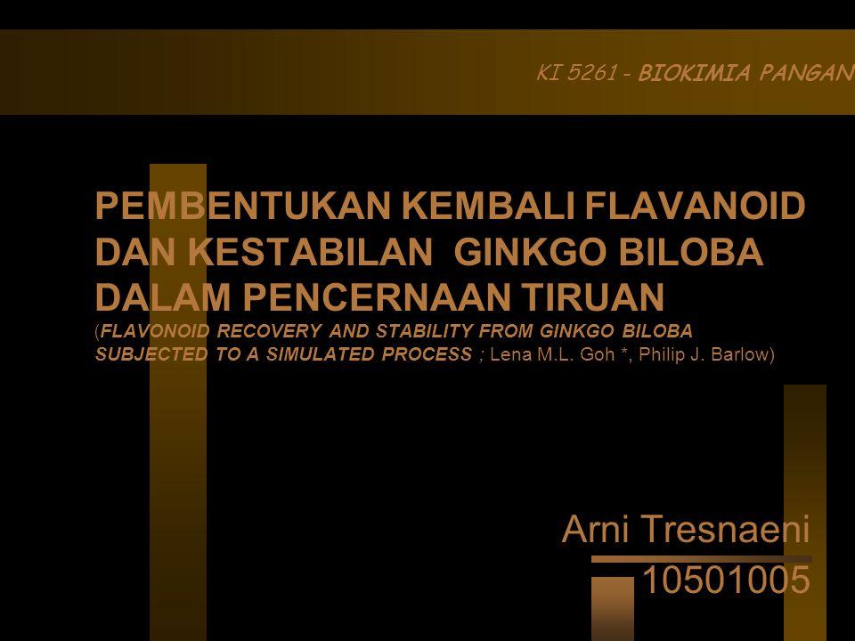 KI 5261 - BIOKIMIA PANGAN Arni Tresnaeni 10501005 PEMBENTUKAN KEMBALI FLAVANOID DAN KESTABILAN GINKGO BILOBA DALAM PENCERNAAN TIRUAN ( FLAVONOID RECOVERY AND STABILITY FROM GINKGO BILOBA SUBJECTED TO A SIMULATED PROCESS ; Lena M.L.