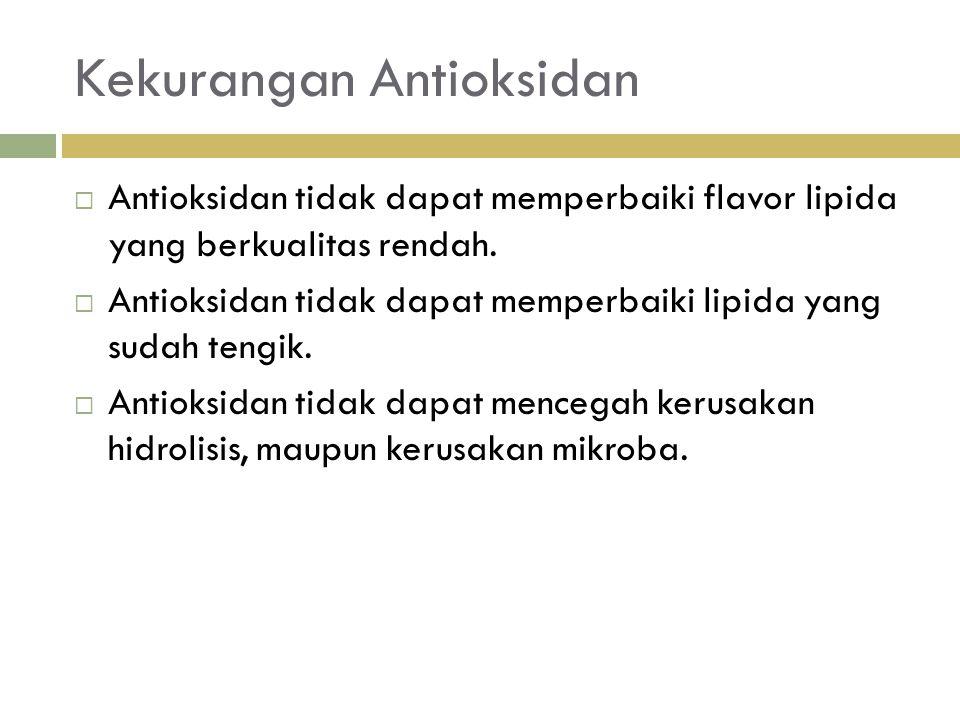 Kekurangan Antioksidan  Antioksidan tidak dapat memperbaiki flavor lipida yang berkualitas rendah.